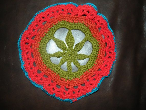 Crochet Mandala Marijuana Leaf Peace Pot Holder by ShelliSublime, $14.20