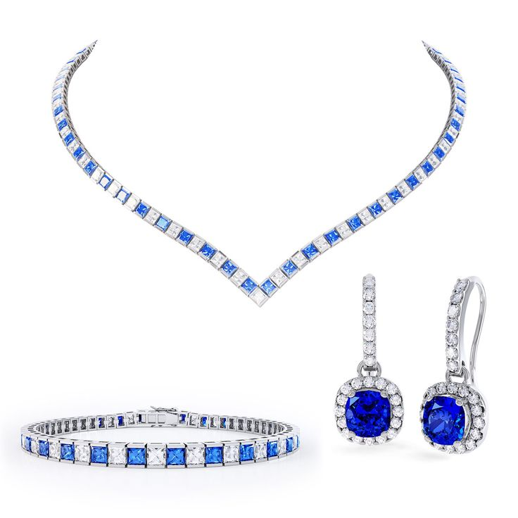 Princess Blue and White Sapphire Platinum plated Silver Jewellery Set