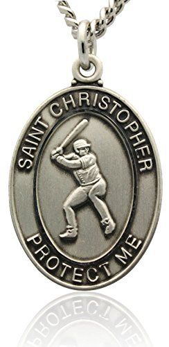 """St Christopher Baseball Medal in Sterling Silver With Rhodium Plated Nickle Necklace   St Christopher sterling silver oval boy's baseball medal. The words """"SAINT CHRISTOPHER PROTECT US"""" encompesses the front of this Read  more http://shopkids.ca/baby-boys/st-christopher-baseball-medal-in-sterling-silver-with-rhodium-plated-nickle-necklace  Visit http://shopkids.ca to find more categories on kid review"""