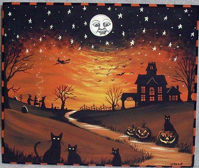 Original Vintage Folk Style Wood Stool Bench Black Cat Witch Halloween Painting