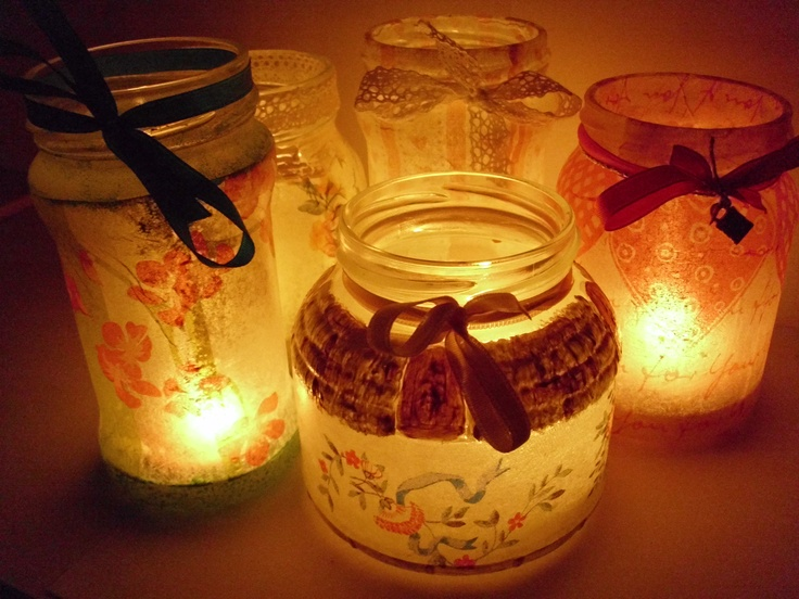Jar as candle support