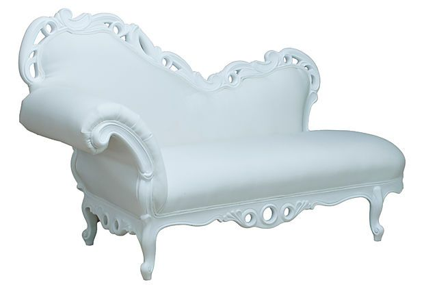 Bagatelle Outdoor Chaise, White on OneKingsLane.com Add elegance any space--whether it's indoors or out--with this upholstered Victorian-style chair. Its sculpted white trim will add a sense of sophistication to any space.