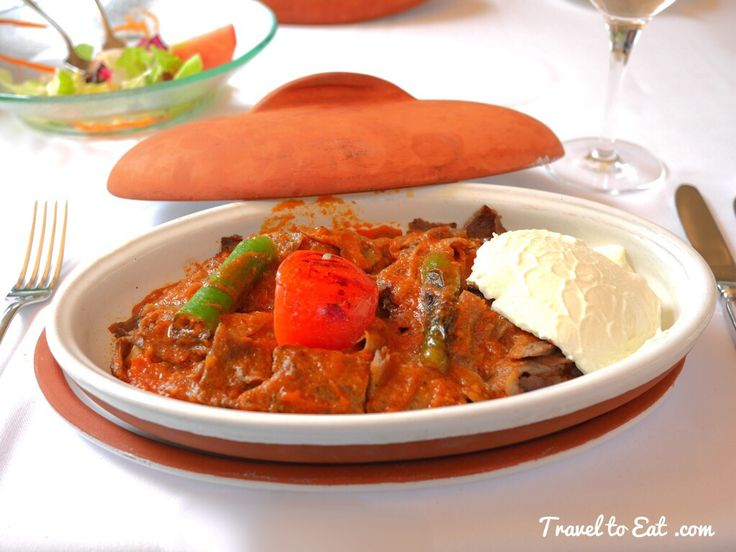 Ïskender Kebab: Dömer Servers on Diced Pita Bread, Tomato Sauce, Burned Butter and Yoghurt. Karakol Restaurant. Topkapı Palace, Istanbul