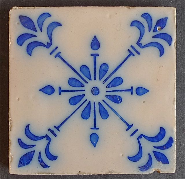 Portuguese Flow Blue Tile, ca. 1900. More
