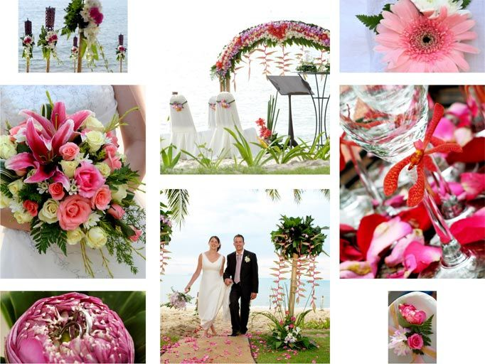 Blending bright and pastel pink with cream for this wonderful beach wedding in Thailand