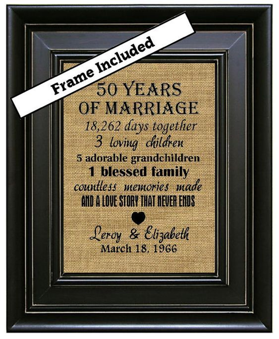 Framed 50th Wedding Anniversary Gifts 50 Years Of Marriage Gold Gift Burlap Art In 2018