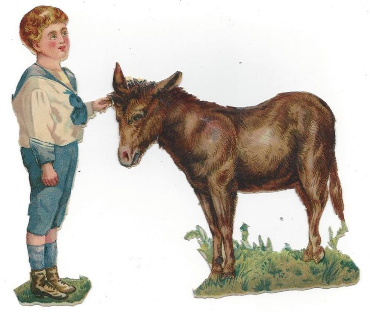 Victorian Die Cut Scrap A boy and his donkey