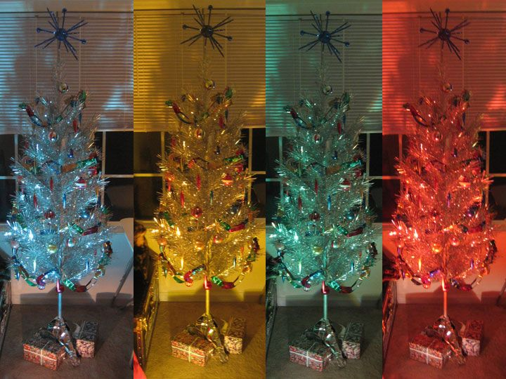 Aluminum Christmas Tree With Color Wheel Light. Of All The