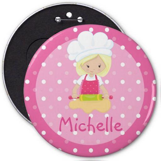 Girl's Pink Cupcake Wars Baking Birthday Party 6 Inch Round Button