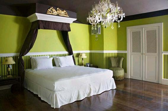 Bedroom...green bedroom with touches of white and chocolate brown (more of a hunter green rather then lime green)