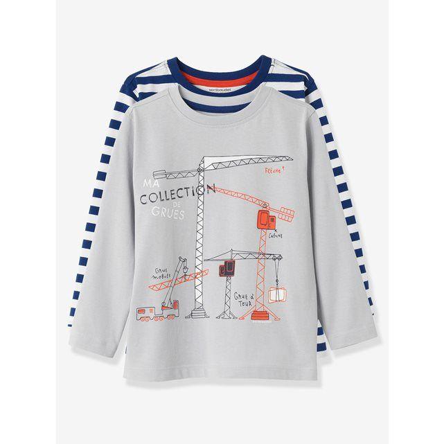 Set van 2 T-shirts met korte mouwen voor jongens VERTBAUDET : prijs, mening en score, levering.  1 set, 2 stijlen: een leuke of een mariene stijl. Varieer je looks! Set van 2 T-shirts met korte mouwen voor jongens1 gestreept in geverfde draad, 1 met bedrukte motievenRonde kraag BELANGRIJKE INFORMATIE: De gezondheid van je kinderen gaat voor alles! Dit artikel draagt het internationale label Betrouwbaar Textiel volgens de Oeko-Tex Standaard 100: het geeft je de garantie dat het product geen…