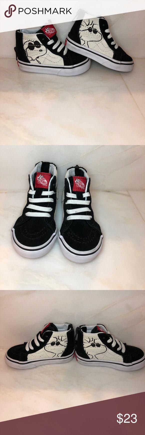 Vans hi top snoopy sneakers in size 4 Vans hi top snoopy sneakers in size 4. In excellent condition!! Vans Shoes Sneakers