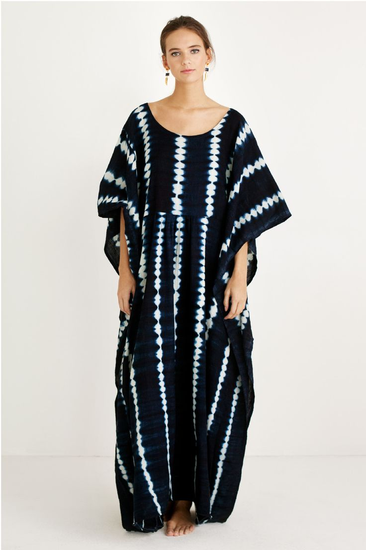 *Available for Pre-Order. Delivery mid-late February. Indigo shibori dyed, flowy caftan by Proud Mary. Made with organic cotton voile, handwoven, dyed and sewn in Mali. - 100% Cotton - Made with local