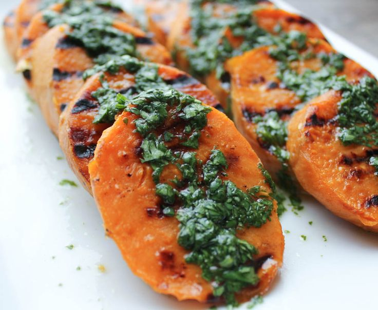 Grilled Sweet Potatoes with Cilantro-Lime Dressing (plus other healthy and delicious summer grilling recipes)! Cilantro-Lime dressing for the win!