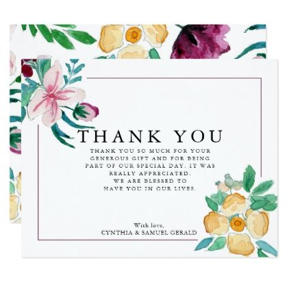 Modern Watercolor Blooms Wedding Thank