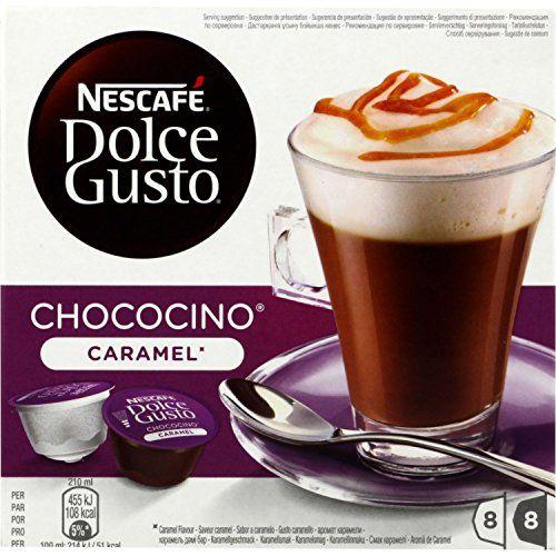 NESCAFÉ Dolce Gusto Chococino Caramel 16 Capsules 204,8 g: Un chocolat onctueux, une note caramel beurre salé, le tout surmonté d'une…