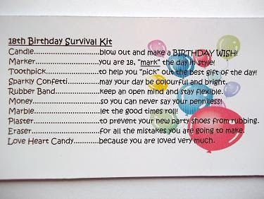 18th birthday girl survival kit novelty fun by honeybeeblessings more