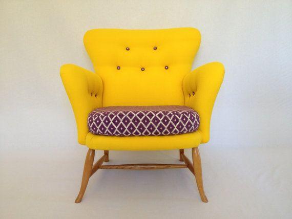 Vintage/Retro Mid-Century Rare Ercol Tub Chair in Designer Fabric 50s 60s