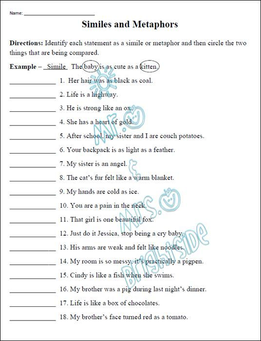 Printables Metaphor Worksheets 1000 ideas about similes and metaphors on pinterest simile this is an 18 question worksheet that focuses students are required