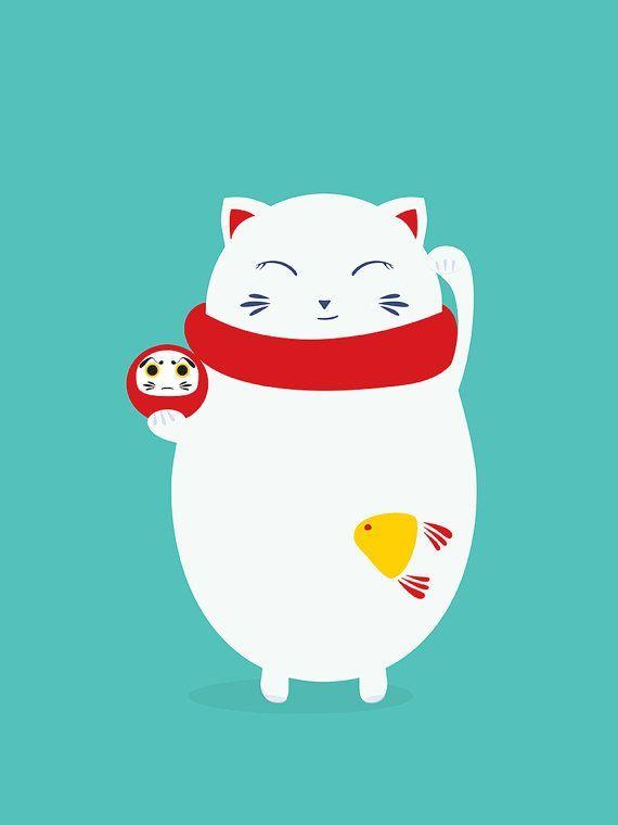 Illustration de chat porte-bonheur japonais par PICAthingswelove