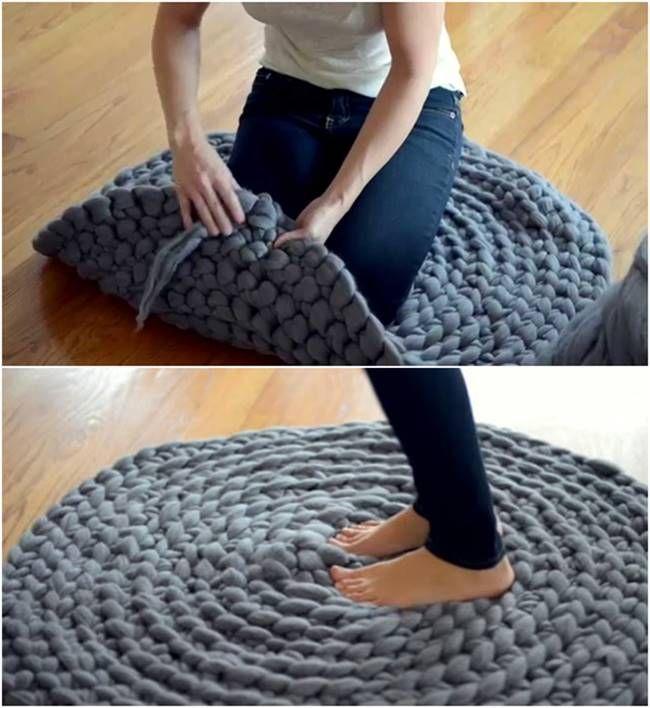 Creative Ideas - DIY Giant Crochet Rug Without Using A Crochet Hook #craft #crochet #rug