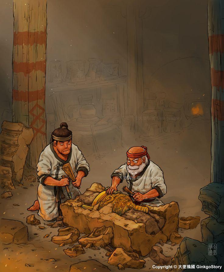 Bronze Vessels workshop during Western Zhou dynasty, Ginkgo Story on ArtStation at https://www.artstation.com/artwork/eyW6D