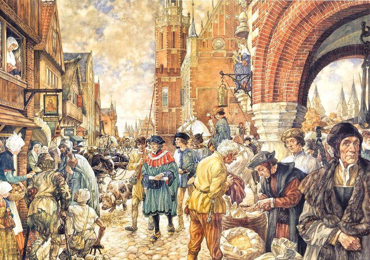 Een stad in de #Middeleeuwen   #Schoolplaat #Isings