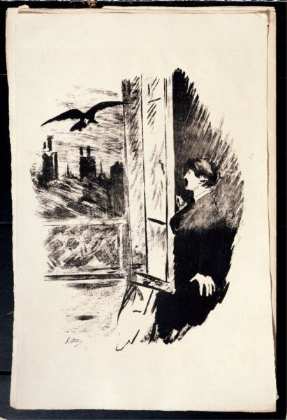 Édouard Manet - Illustration for ''The Raven'', by Edgar Allan Poe. Date: 1875  Technique: Etching    Published by Richard Lesclide, together with a French translation of the poem by Stéphane Mallarmé.