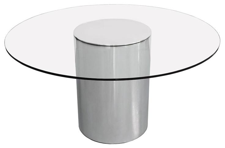 """54"""" PAUL MAYEN Aluminum Dining Table HABITAT Mid Century Modern Milo Baughman"""