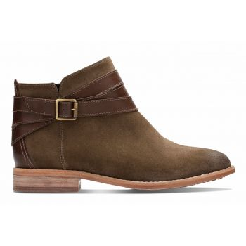 A stylish ankle boot that looks great with any outfit. Maypearl Edie features premium quality suede leather uppers with strap detailing around the ankle, along with contrasting stitching and a welted sole for a classic look. The zip fastening allows an easy fit, while the cushioned footbed ensures lasting comfort.