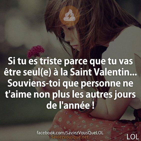 Si tu es triste parce que tu vas être seul(e) à la Saint Valentin... Souviens-toi que personne ne t'aime non plus les autres jours de l'année ! | Saviez Vous Que? | Tous les jours, découvrez de nouvelles infos pour briller en société !