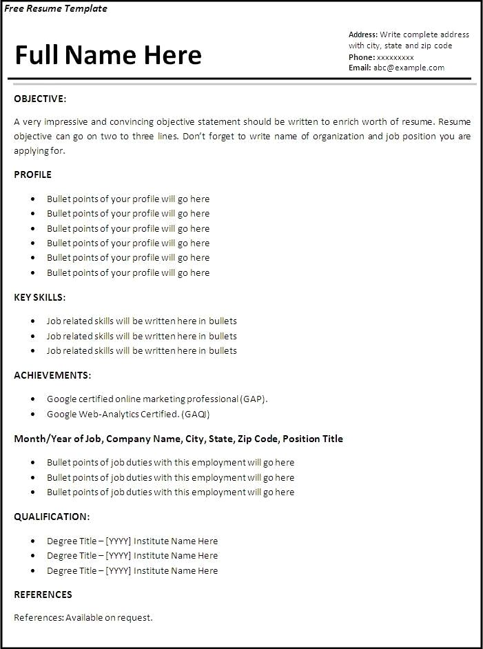 Work Experience Resume Format Resume Format Without Experience
