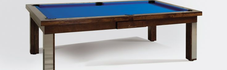 Modern Pool Table, shown as a 7' American Pool Table built in Birch, colour 3 with a Blue Cloth. #luxury #pool #table #custom made #bespoke