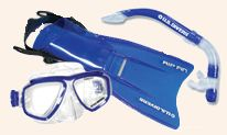Kids snorkel set rentals in Tortola BVI - includes fitted Java mask, self-draining snorkel, and adjustable fins.