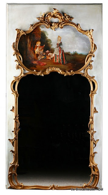 french trumeau mirror for hallway, could this be replicated with ornate mirrors and olIl painting canvas.