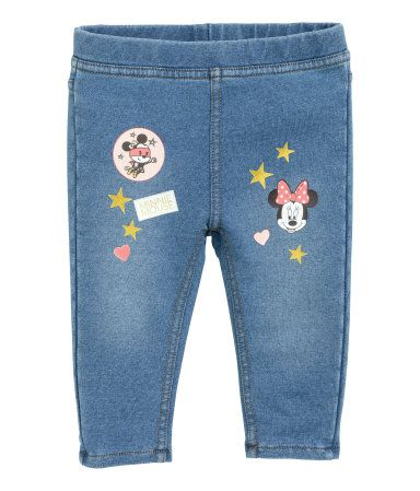 Denim blue/Minnie Mouse. Treggings in soft, washed cotton jersey with a printed design on legs and an elasticized waistband.