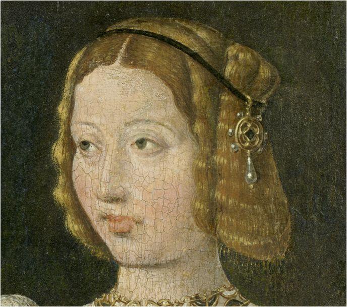Moños no ahuecados. Isabel de Portugal, seguidor Jan Cornelisz Vermeyen (detalle)
