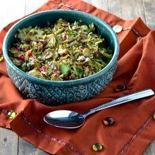Mustard Maple Brussel Sprouts with Candied Pepitas and Pomegranate Seeds
