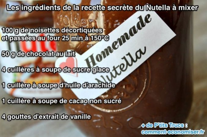 Nous nous sommes procurés la recette secrète du Nutella que vous allez désormais pouvoir faire maison. Très facile à faire, ce qui compte le plus dans cette recette est de bien mixer les ingrédients pour obtenir une pâte avec une consistance parfaite comme celle du Nutella.  Découvrez l'astuce ici : http://www.comment-economiser.fr/recette-secrete-nutella-ingredients.html?utm_content=buffer74062&utm_medium=social&utm_source=pinterest.com&utm_campaign=buffer