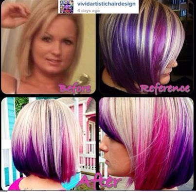 bleach blonde with pink and purple underneath hair