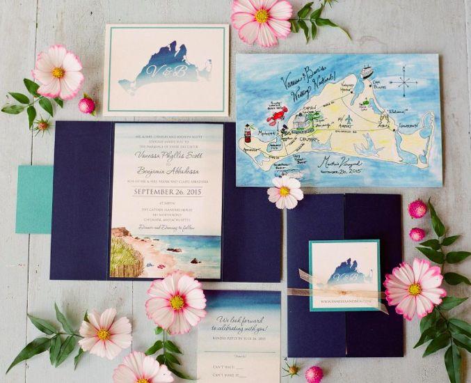 Martha's Vineyard Wedding invitations by NooneyArt Designs
