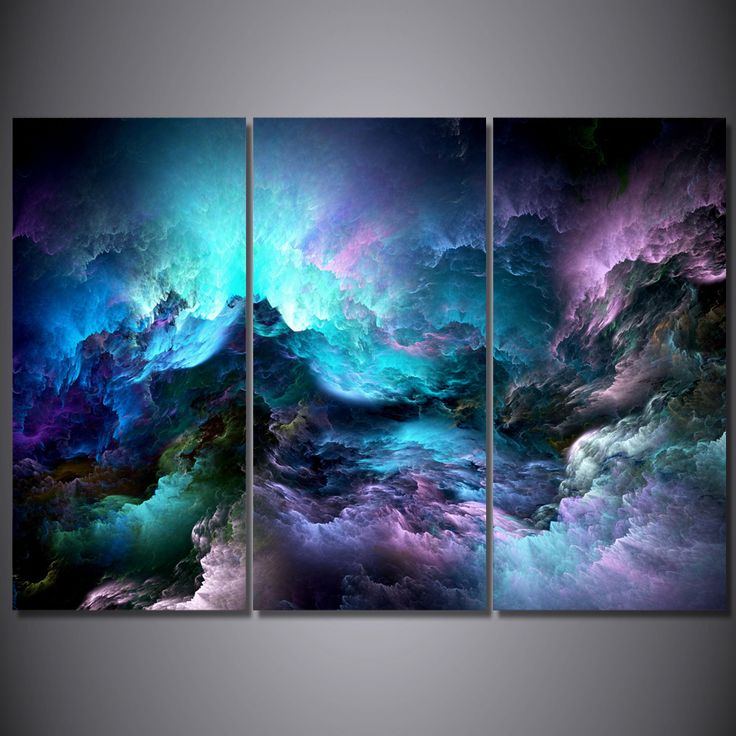 Wall Art Canvas Painting 3Pcs Abstract Graphics Psychedelic Nebula Space Wall Pictures For Living Room Large HD Modular Pictures