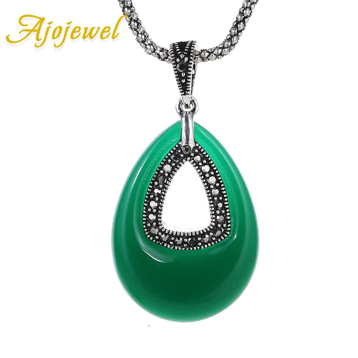 Ajojewel Water Drop Resin Stone Big Green Necklace Women Vintage Antique Jewelry 2017 Trendy Necklaces & Pendants
