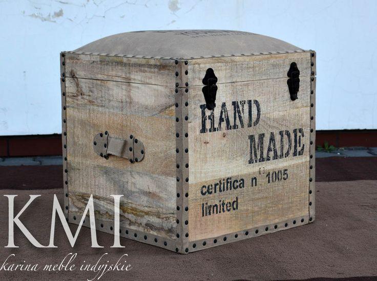 """meble indyjskie - kufer pojedynczy """"Merlot"""" loft"""