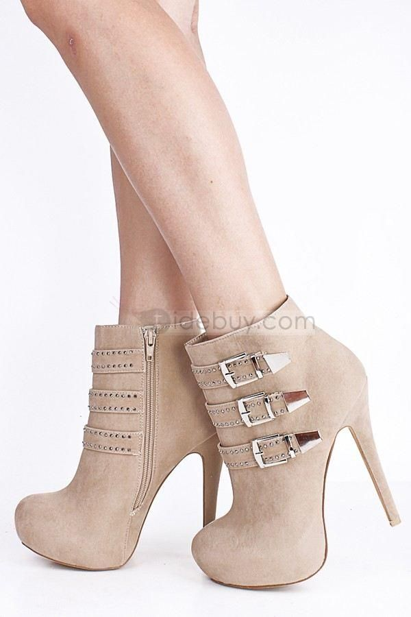 Exquisite Natural Flocking Buckle Stiletto Heel Ankle Boots