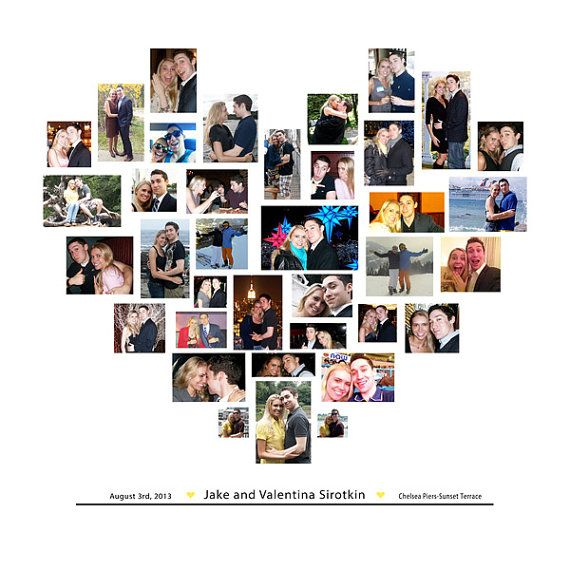Welcome your guests, with this Heart Collage showcasing photos of the two of you. After the wedding, frame it or hang as is in your home. Money well spent, and you'll be so happy you did this when the 25th Anniversary rolls around!! Wedding Photo Collage / Heart Collage / Canvas Collage / Photo Collage / Wedding Decorations