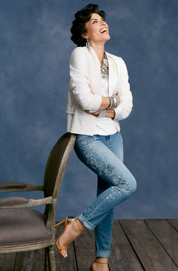 Solid Cropped Jacket with Embroidered Ankle Jean #chicos #WildAbout30 without a doubt the best...Chico's jeans!!