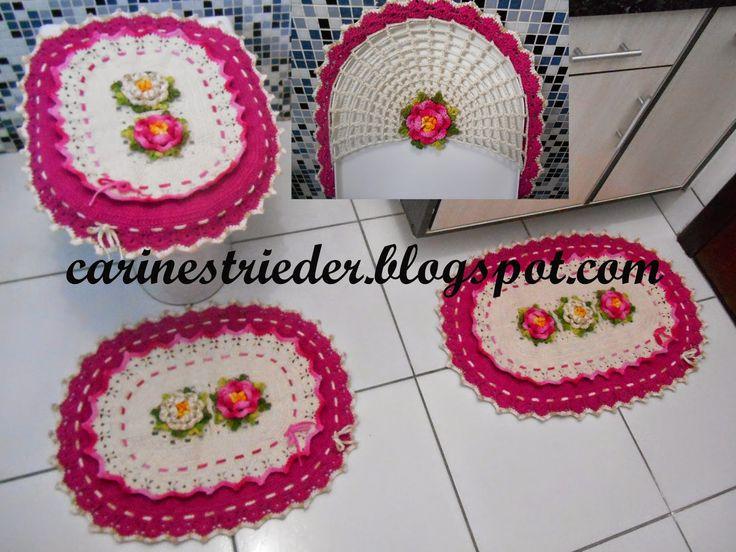 Carine Strieder e seus Crochês Jogo de Banheiro Oval com Flores  Ideias par -> Jogo De Banheiro Simples Oval Passo A Passo