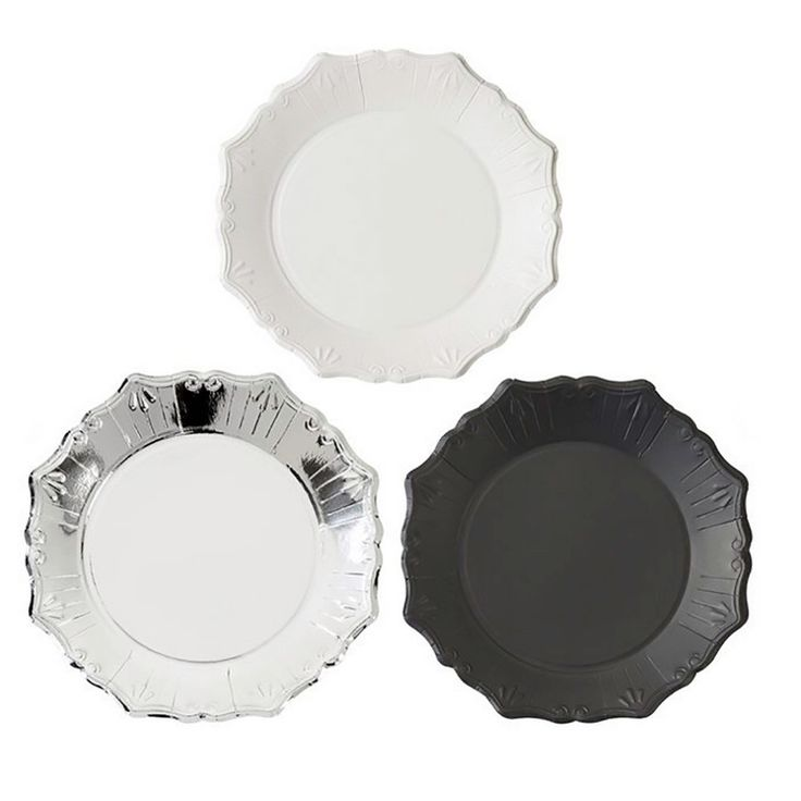 paper plates silver black and white party plates black and white party