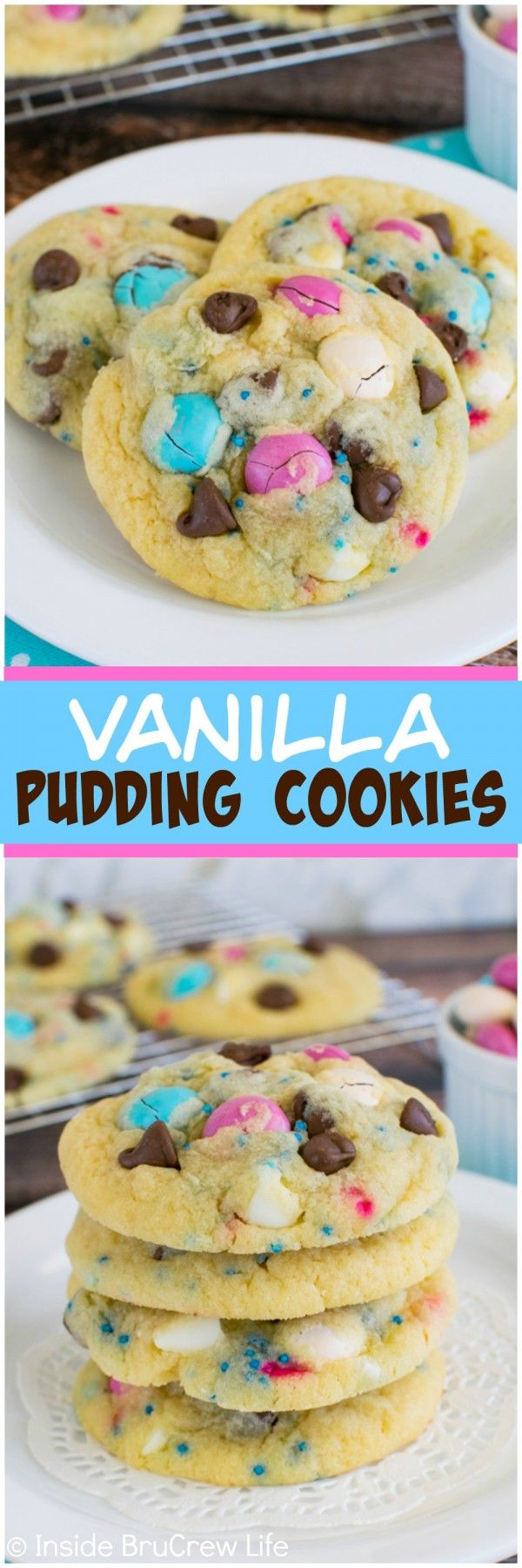 Vanilla Pudding Cookies - these soft and chewy cookies are loaded with candy, chocolate chips, and sprinkles.  Fun dessert recipe for lunch boxes.